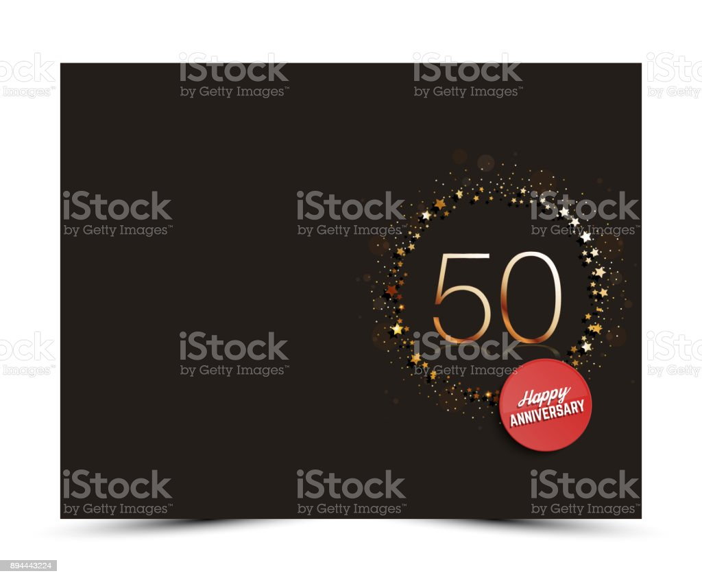 50th anniversary decorated card template. vector art illustration