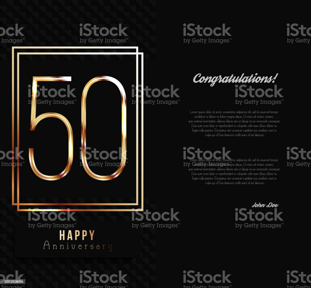 50th anniversary decorated invitation card template. vector art illustration