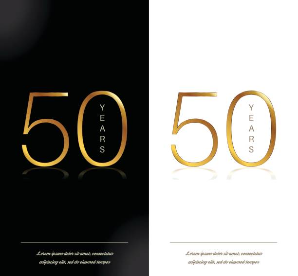 50th anniversary decorated invitation / greeting card template. vector art illustration