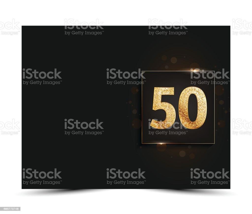50e anniversaire décoré invitation / modèle de carte de souhaits. 50e anniversaire décoré invitation modèle de carte de souhaits – cliparts vectoriels et plus d'images de 50ème anniversaire libre de droits