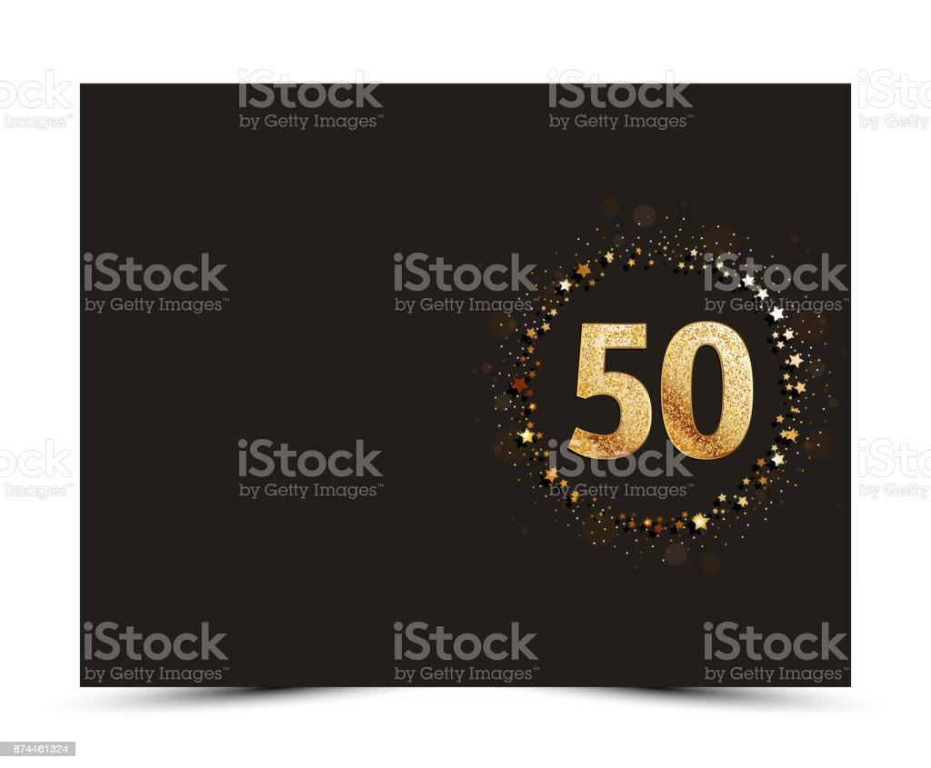 Ilustración De 50 Aniversario Decoradas Invitación Plantilla