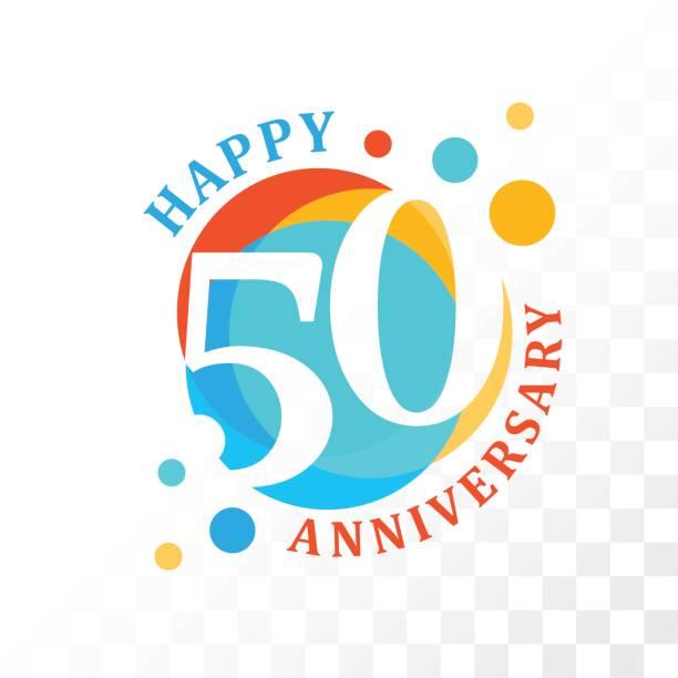 emblema de 50º aniversário. - ilustração de arte em vetor