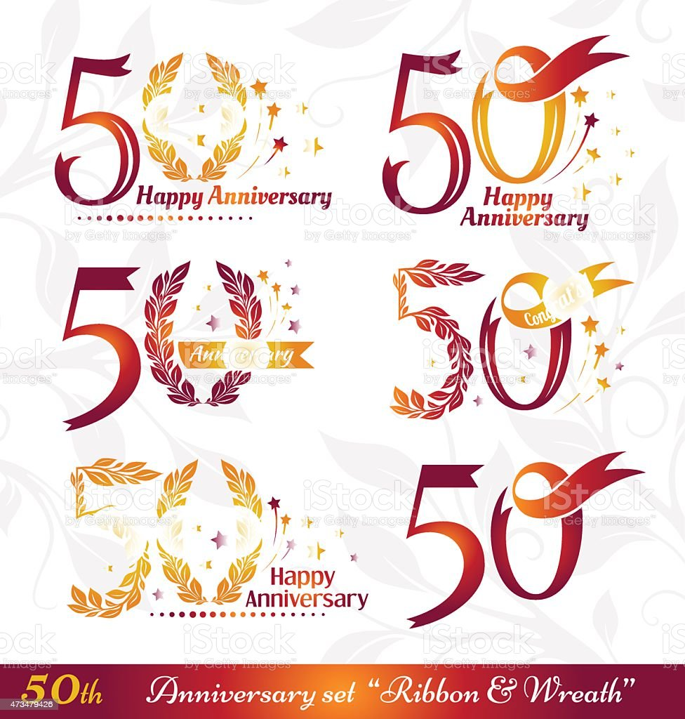 50th anniversary emblems vector art illustration