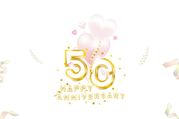 50th Anniversary gold inscription with original numbers and fonts for celebration and anniversary event party. Banner with gold confetti, ribbons and pink hearts. vector art illustration