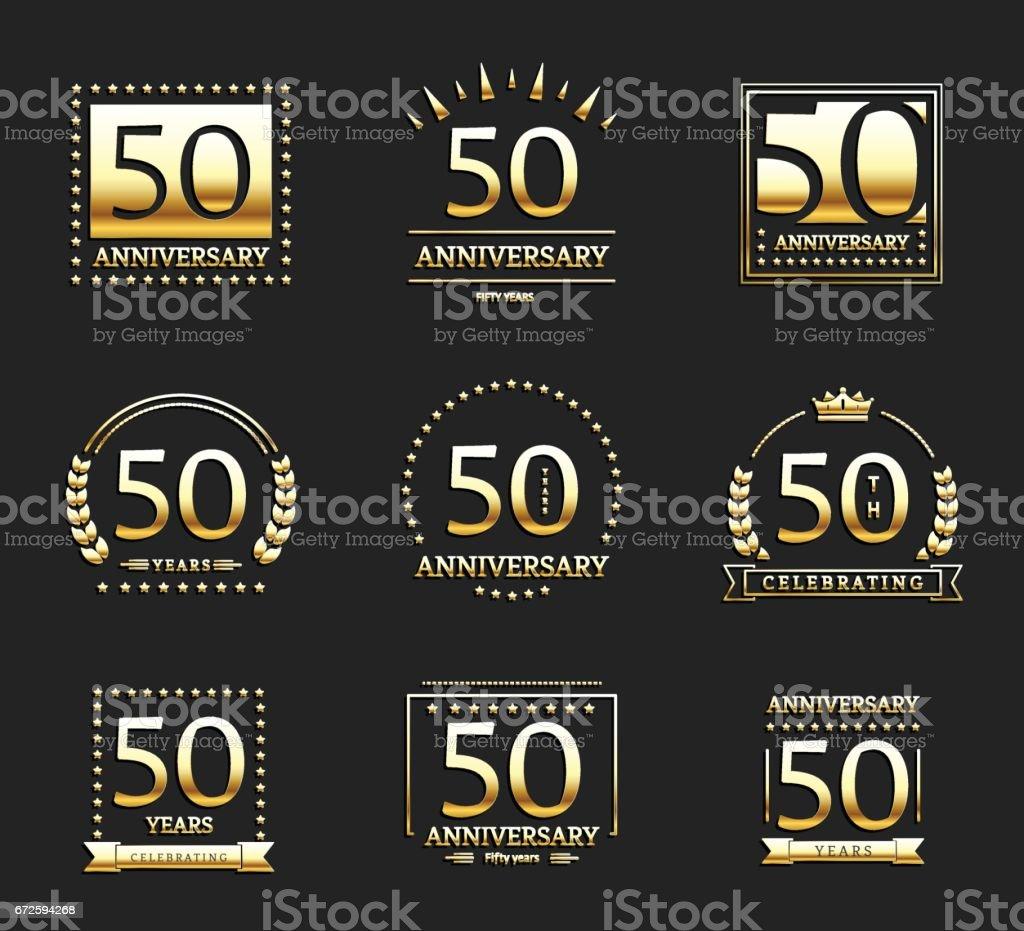50th anniversary gold logotype set. Jubilee banner. vector art illustration