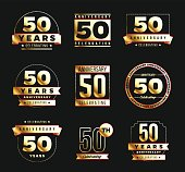50th anniversary gold logotype set. Jubilee banner.