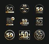 50th anniversary gold symbol type set. Jubilee banner.
