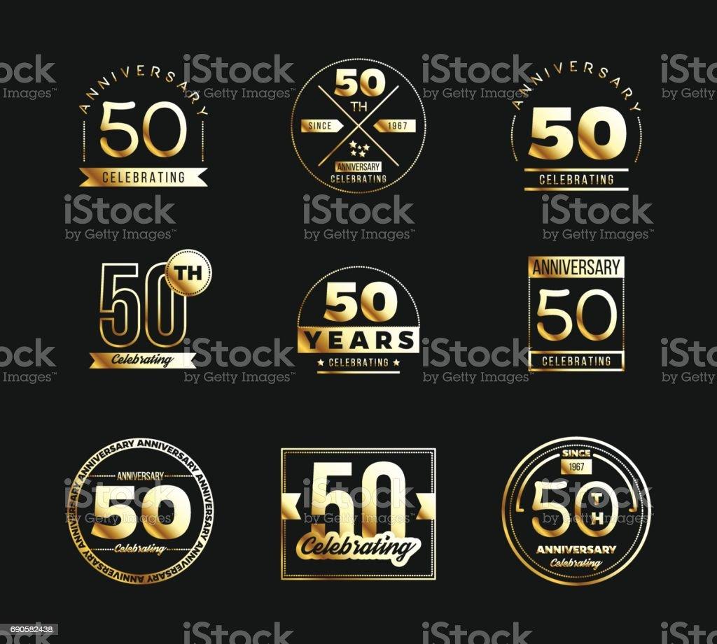 50th anniversary gold symbol type set. Jubilee banner. vector art illustration