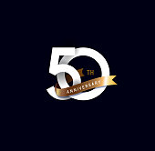 50th anniversary icon with gold ribbon. template design for web, game ,Creative poster, booklet, leaflet, flyer, magazine, invitation card