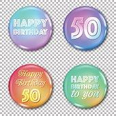 50th anniversary icons set. Happy birthday labels