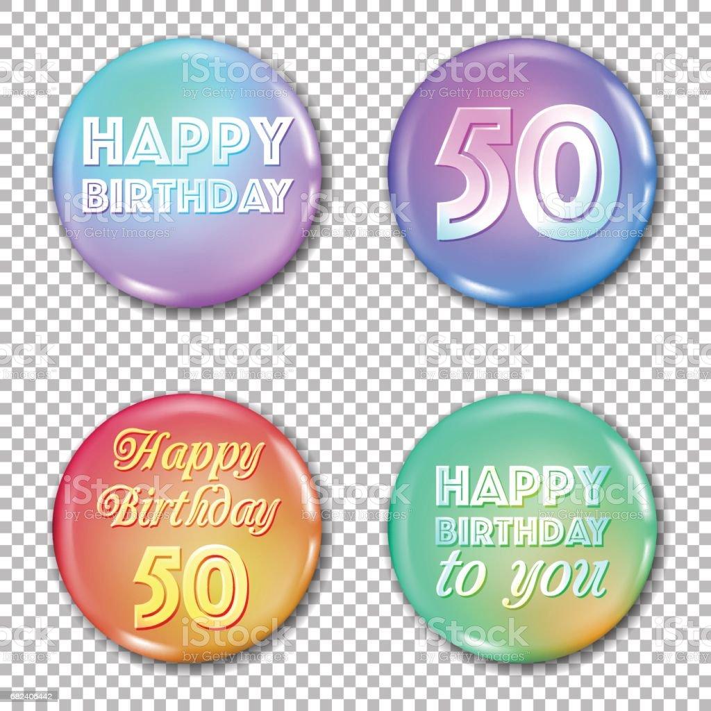 50th anniversary icons set. Happy birthday labels vector art illustration