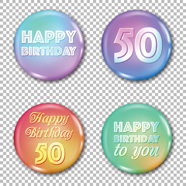 50th anniversary icons set. Happy birthday labels vector art illustration