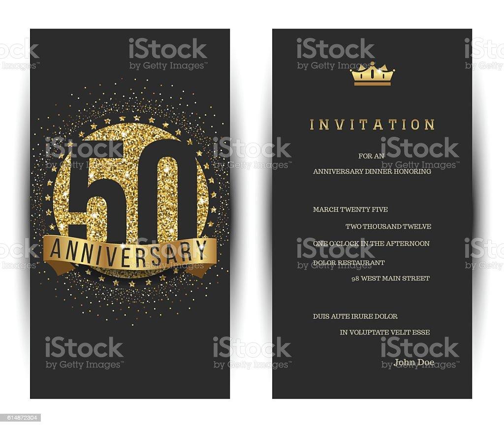 50th Anniversary Invitation Card With Golden Logo Stock