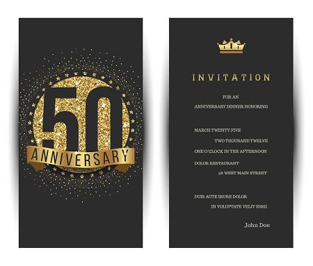 50th anniversary invitation card with golden logo.