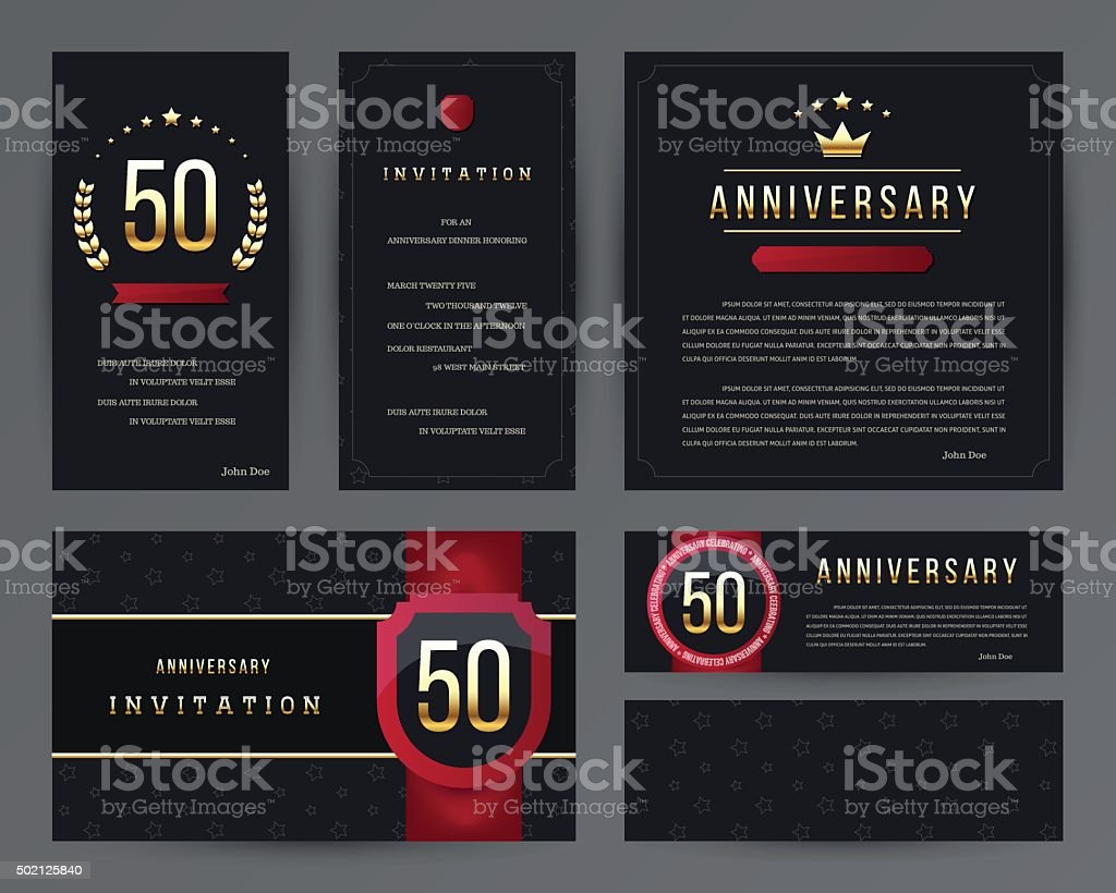 50th anniversary invitation cards template with logo's. Vintage vector illustration. - Illustration .