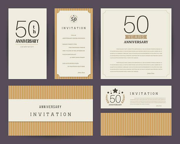 50th anniversary invitation cards template with logo's. Vintage vector illustration. vector art illustration