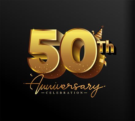 50th Anniversary Logotype with Gold Confetti Isolated on Black Background, Vector Design for Greeting Card and Invitation Card