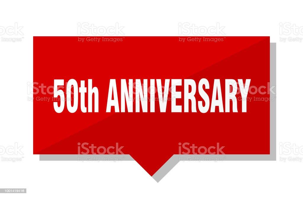 50th anniversary red tag vector art illustration