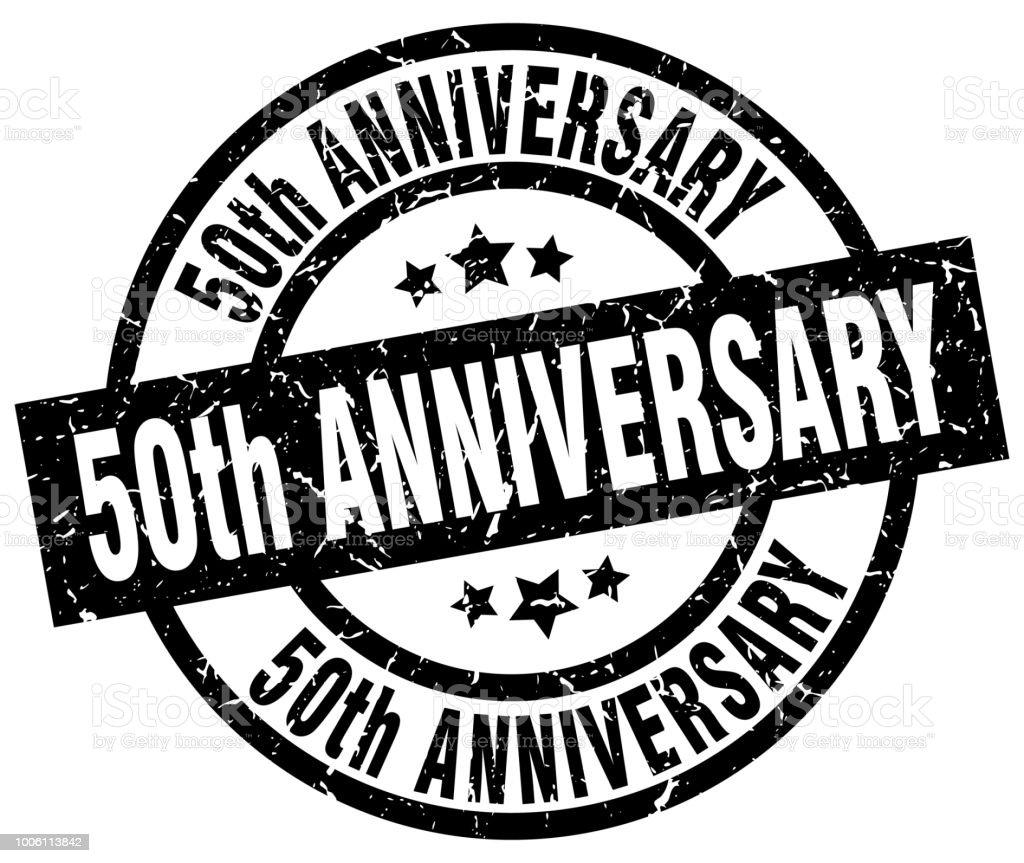 50th anniversary round grunge black stamp vector art illustration