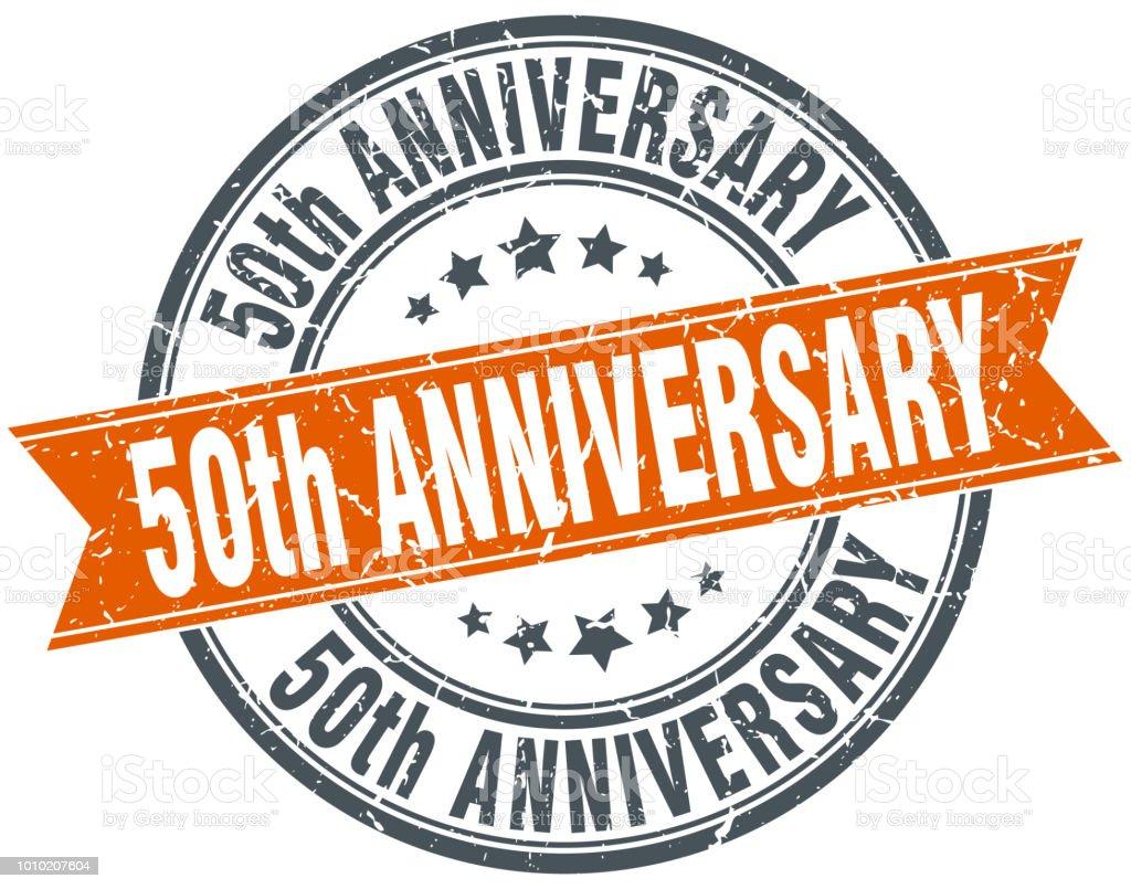 50th anniversary round grunge ribbon stamp vector art illustration