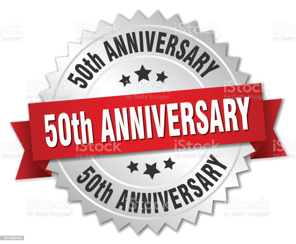 50th anniversary round isolated silver badge vector art illustration