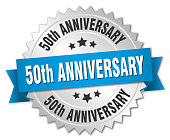 50th anniversary round isolated silver badge