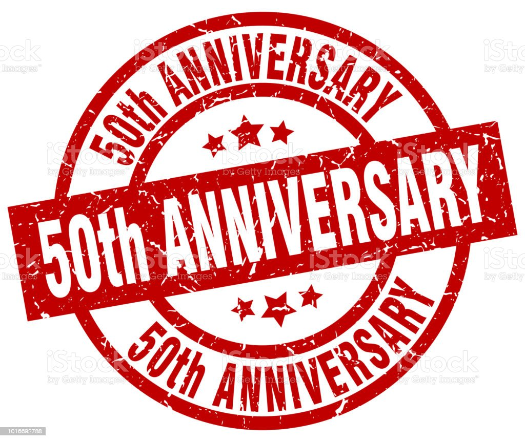 50th anniversary round red grunge stamp vector art illustration