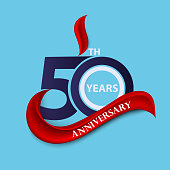 50th anniversary sign and logo celebration symbol with red ribbon