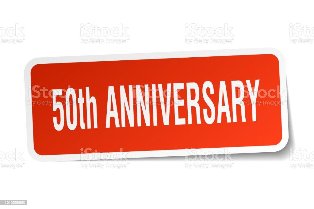 50th anniversary square sticker on white vector art illustration