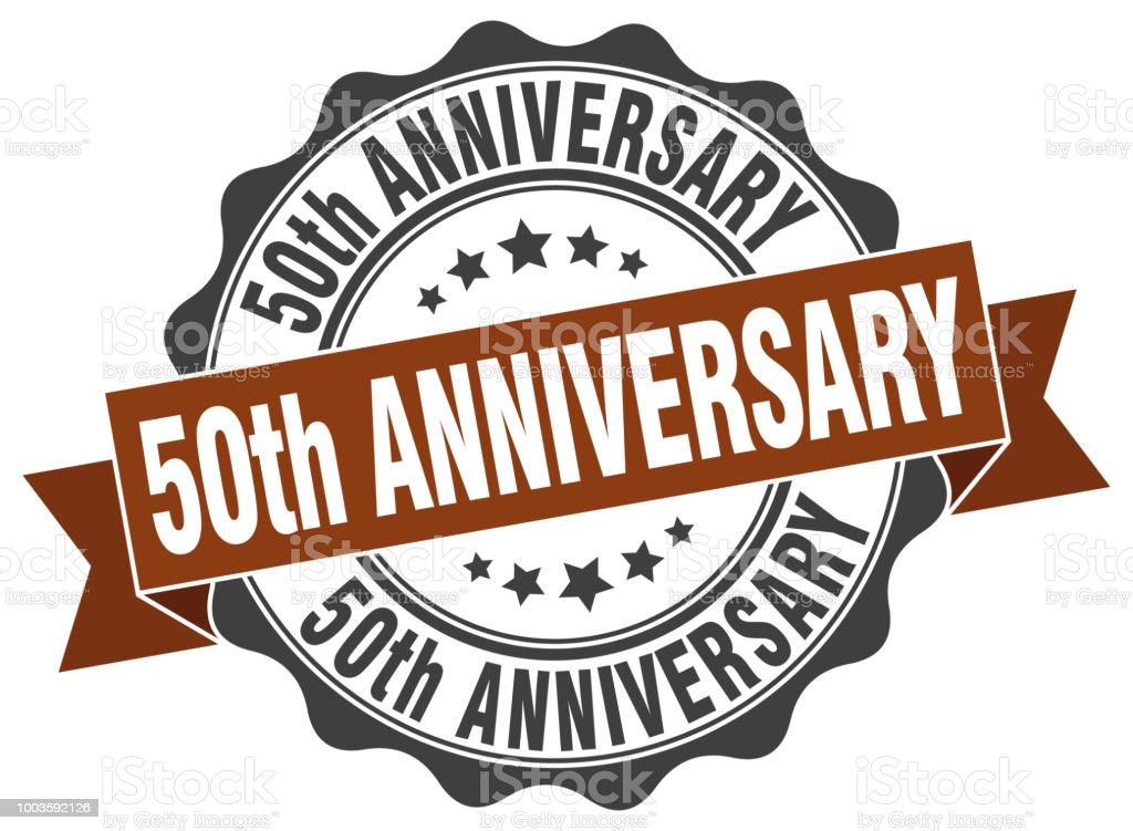 50th anniversary stamp. sign. seal vector art illustration
