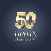 50th anniversary vector icon