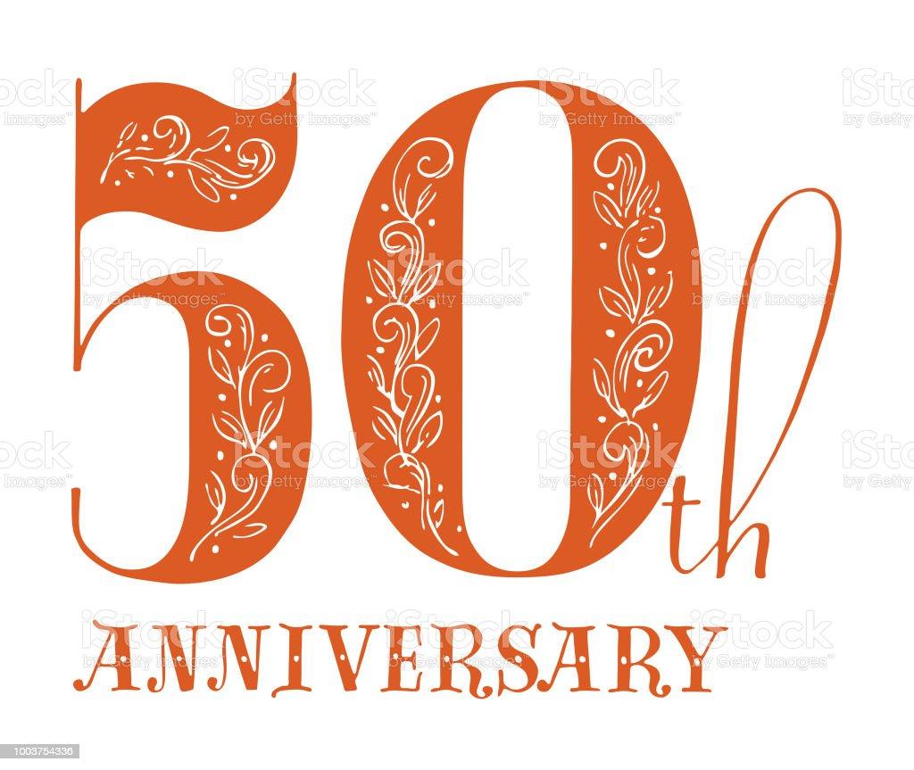 50th Anniversary vector art illustration