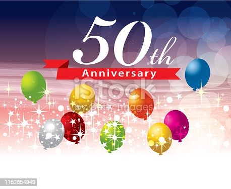 A vector illustration to show 50 anniversary in a flying balloon background