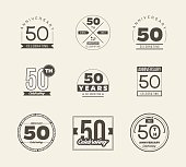50th anniversary vintage symbol set. 50 years symbols.