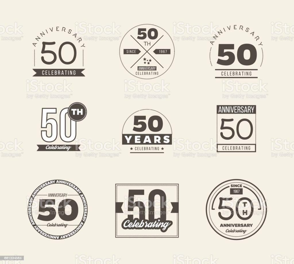 50th anniversary vintage symbol set. 50 years symbols. vector art illustration