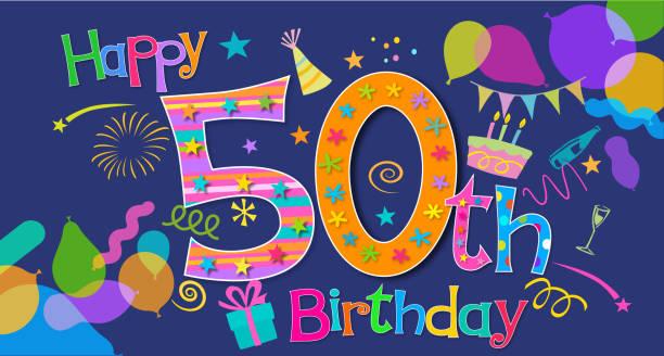 50º aniversário de saudação - ilustração de arte em vetor