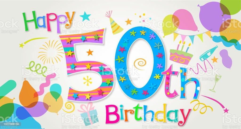 50th Birthday Greeting vector art illustration
