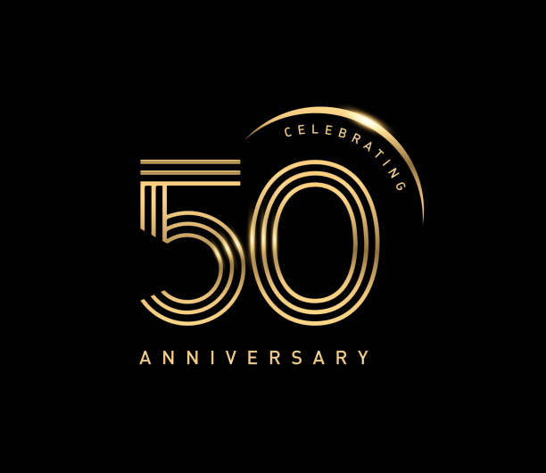 50th celebrating anniversary logo with golden ring isolated on black background, vector design for greeting card and invitation card. vector art illustration