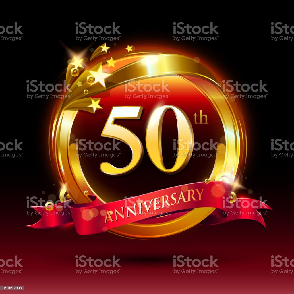 50th golden anniversary logo with ring and red ribbon vector art illustration