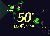 50th Happy Anniversary lettering text banner, dark color with geometric background