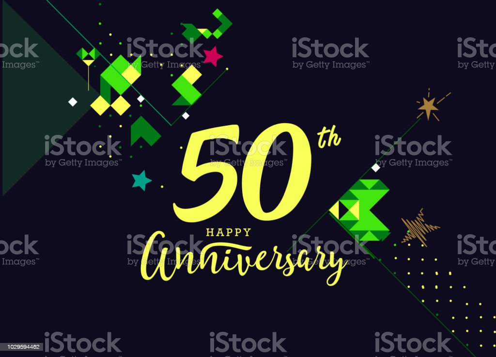 50th Happy Anniversary lettering text banner, dark color with geometric background vector art illustration