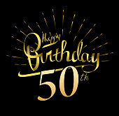 50th Happy Birthday design. Beautiful greeting card poster with calligraphy Word gold fireworks. Hand drawn design elements. Handwritten modern brush lettering on a black background isolated vector