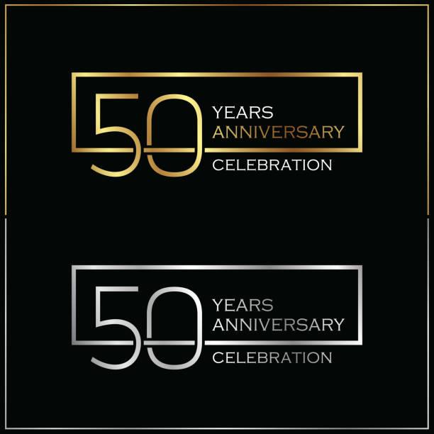 bildbanksillustrationer, clip art samt tecknat material och ikoner med 50-årsjubileum firande bakgrund - talet 50
