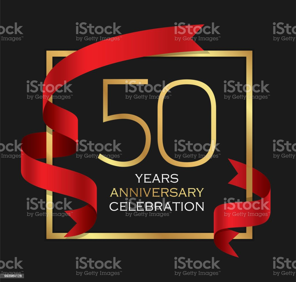 50th years anniversary celebration background vector art illustration