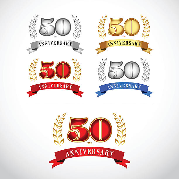 50th Years Anniversary Celebration Design template set. vector art illustration