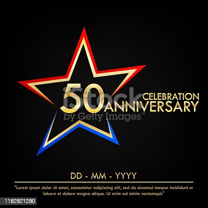 50th years anniversary celebration emblem. anniversary elegance golden logo with red and blue star shape. vector illustration template design for web, leaflet, flyer, greeting card and invitation card