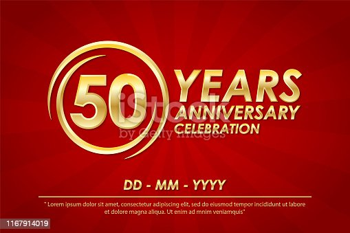 50th years anniversary celebration emblem. anniversary logo with ring and elegance of golden on red background, vector illustration template design for celebration greeting card and invitation card