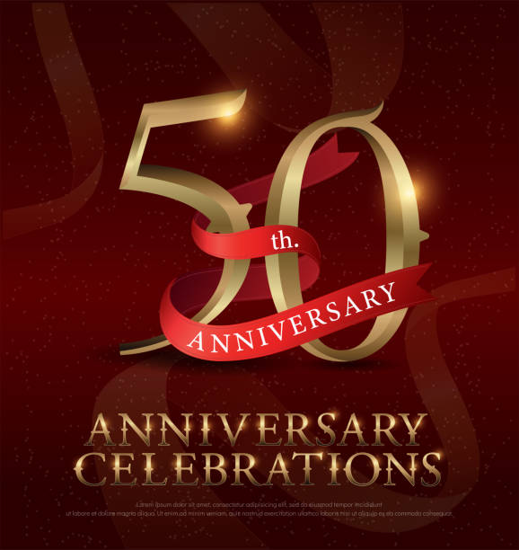 50th years anniversary celebration golden logo with red ribbon on red background. vector illustrator vector art illustration