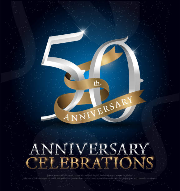 50th years anniversary celebration silver and gold logo with golden ribbon on dark blue background. vector illustrator vector art illustration