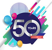 50th years Anniversary icon with colorful abstract background, vector design template elements for invitation card and poster your birthday celebration.